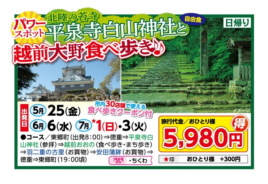 パワースポット平泉寺白山神社と越前大野食べ歩き♪