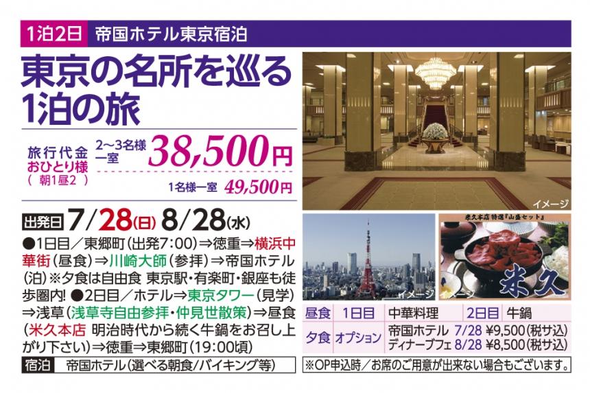 帝国ホテル東京宿泊 東京の名所を巡る1泊の旅