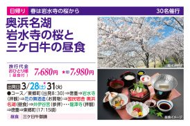 奥浜名湖 岩水寺の桜と三ヶ日牛の昼食