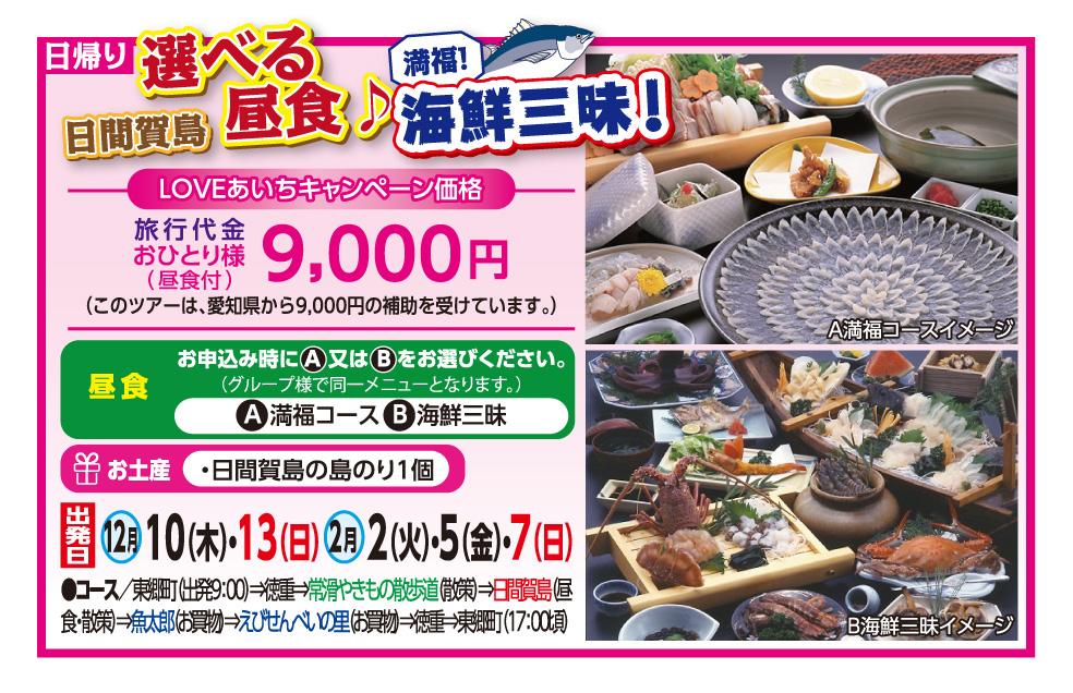 LOVEあいちキャンペーン 日間賀島選べる昼食♪海鮮三味!