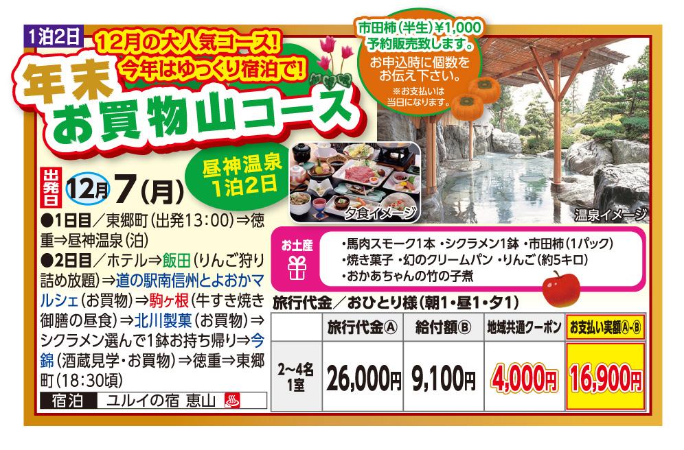 GOTOトラベル事業対象 年末お買物山コース 昼神温泉1泊2日